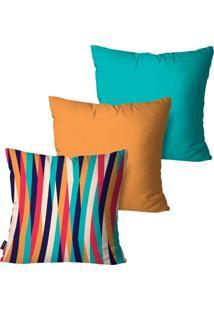 Kit Com 3 Capas Para Almofadas Pump Up Decorativas Listras Laranja Coloridas 45X45Cm - Laranja - Dafiti
