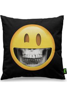 Capa De Almofada Skull Inside Emoji Preto