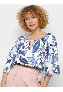 Blusa Cropped Maria Filó Floral Santorini Feminina - Feminino-Azul+Branco
