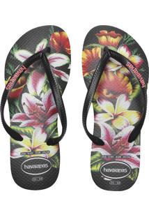 Sandália Havaianas Slim Floral Fc Preta