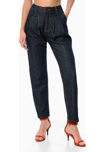 Calça Jeans Mom Pregas - Azul Marinho - 36