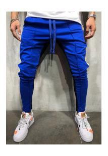 Calça Masculina Slim Striped Duas Cores - Azul E Preto