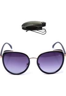 Óculos De Sol Redondo Com Porta Oculos De Brinde Selten Preto