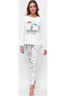 Pijama Longo Acuo Friends Ribana Feminino - Feminino-Preto+Branco