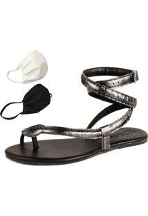 Sandalia Rasteira Mercedita Shoes Cobra Onix Prata Metalizado + Brinde