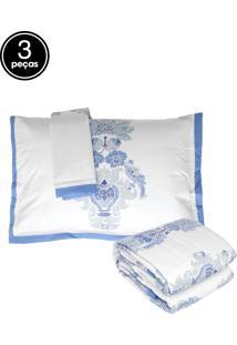 Kit 3Pçs Colcha Casal Buddemeyer Almada Percal 200 Fios Azul
