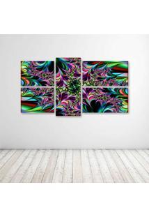 Quadro Decorativo - Fractal Abstract Abstraction Art - Composto De 5 Quadros - Multicolorido - Dafiti