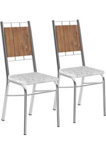 Kit 2 Cadeiras Mdp Native Tecil Fantasia Branco Cromado Móveis Carraro