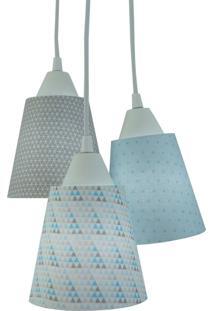 Lustre Crie Casa Pendente Luminária Cacho Azul E Cinza