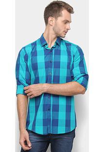Camisa Xadrez Watkins&Krown Masculina - Masculino-Azul+Verde