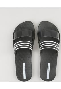 Chinelo Slide Feminino Ipanema Com Tiras Transparentes Preto