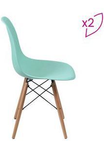 Or Design Jogo De Cadeiras Eames Dkr Verde ÁGua & Madeira 2Pã§S