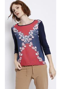 Blusa Floral Com Tiras Vazadas - Azul Marinho & Vermelhamalwee