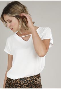Blusa Feminina Manga Curta Decote V Branca