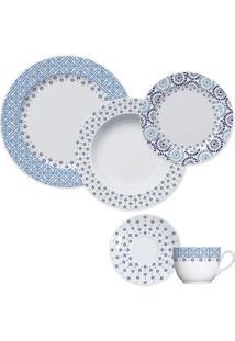 Aparelho De Jantar 30 Peças Lisboa - Germer - Branco / Azul