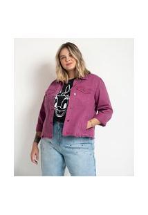 Jaqueta Jeans Com Barra Desfiada Curve & Plus Size