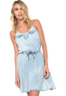 d7972493c80d Dafiti. Vestido Lunender Azul Curto Bordado Jeans