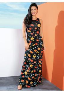 Vestido Longo Floral Sem Mangas