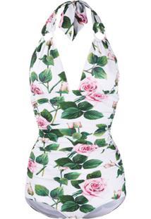 Dolce & Gabbana Maiô Com Estampa Tropical De Rosa - Branco