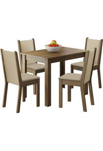 Sala De Jantar Madesa Ketlin E 4 Cadeiras Marrom