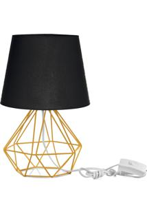 Abajur Diamante Dome Preto Com Aramado Amarelo - Preto - Dafiti