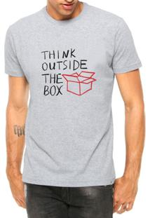 Camiseta Criativa Urbana Think Outside The Box Pense Fora Da Caixa - Masculino-Cinza