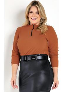 Blusa Ferrugem Com Zíper Plus Size