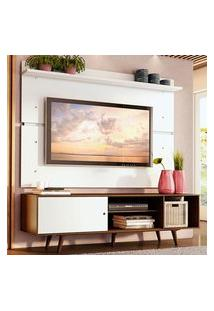 Rack Madesa Dubai E Painel Para Tv Até 65 Polegadas Com Pés - Rustic/Branco 6E9B Marrom