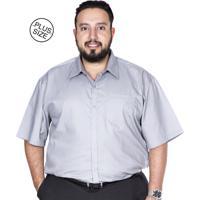 Camisa Plus Size Bigshirts Manga Curta Lisa Cinza 12221c3d021