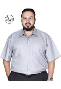 Camisa Plus Size Bigshirts Manga Curta Lisa Cinza