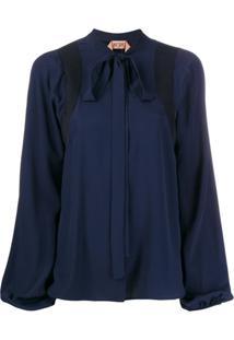 Nº21 Blusa Mangas Longas Com Laço - Azul
