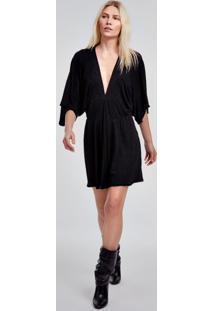 Vestido De Malha Curto Preto Com Lurex Decote V E Manga Ampla Preto