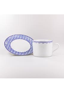 Conjunto De Xícaras Para Chá C/ Pires Porcelana Schmidt 06 Peças - Dec. Coimbra