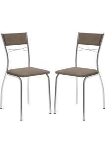 Cadeira 1701 Cromada 02 Unidades Camurça Conhaque Carraro