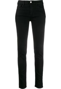 Emporio Armani Logo Patch Low-Rise Skinny Jeans - Preto