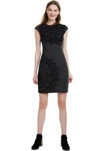 Vestido Desigual Curto Estampado Preto