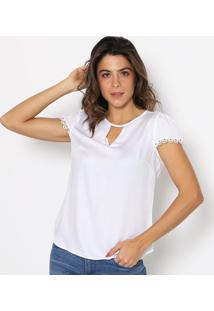 Blusa Com Renda & Vazado- Branca- Vip Reservavip Reserva