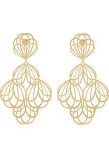 3fed4e2addf ... Brinco Banho De Ouro Flores Vazadas - Feminino-Dourado