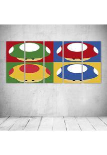 Quadro Decorativo - Mushrooms - Composto De 5 Quadros - Multicolorido - Dafiti