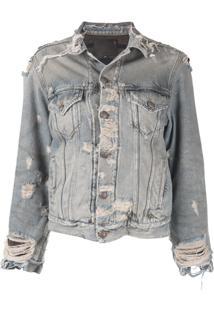 R13 Jaqueta Jeans Com Destroyed - Azul