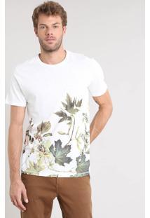 Camiseta Masculina Com Estampa De Folhagem Manga Curta Gola Careca Off White