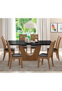 Conjunto De Mesa De Jantar Com 6 Lugares Urbi Courino Preto E Rustic