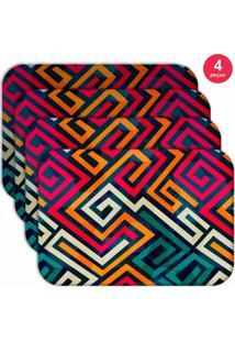 Jogo Americano Love Decor Wevans Linhas Abstratas Kit Com 4 Pçs
