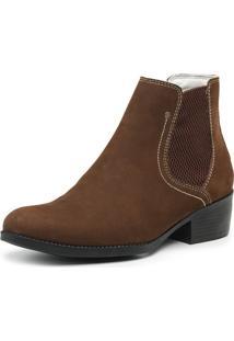 Bota Botina Feminina Country Couro Cano Curto Jna Shoes