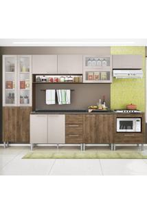 Cozinha Compacta 13 Portas Emanuella 0422T Demolição/Mel 3D - Genialflex