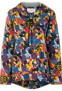 La Doublej Blusa De Moletom Estampada Com Capuz - Azul