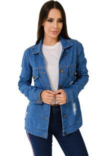 Jaqueta Jeans Aero Jeans Com Rasgo Azul
