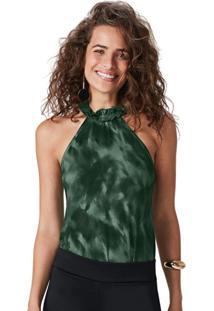 Blusa Verde Escuro Estampada Em Viscose