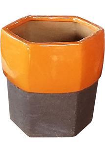 Vaso Envernizado & Texturizado- Amarelo Escuro & Marrom Companhia Das Folhas