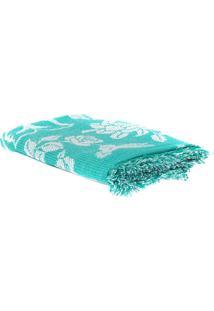 Cobertor Casal King Verde Com Branco 100% Algodão Redes De Dormir
